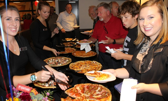 grand opening boston pizza americana packs 39 em in. Black Bedroom Furniture Sets. Home Design Ideas